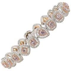 EG Lab White Gold Fancy Pink and White Diamond Bracelet