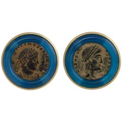 Ella Gafter Antique Coin and Jadeite Yellow Gold Cufflinks