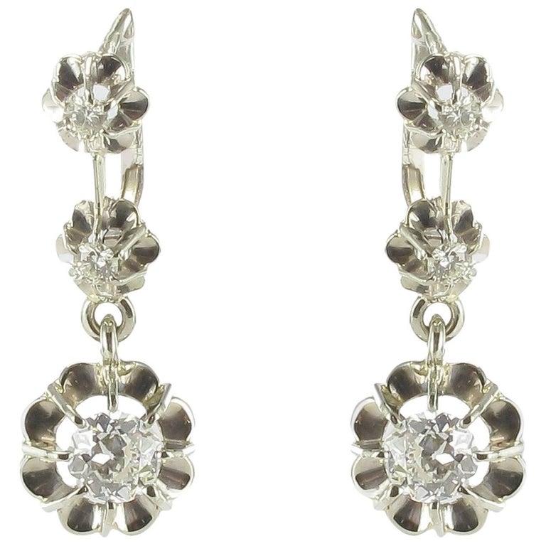 French 1930s Three Diamond White Gold Dangle Drop Earrings