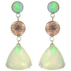 Baume 7.87 Carat Opal Burma Garnet White Gold Dangle Earrings
