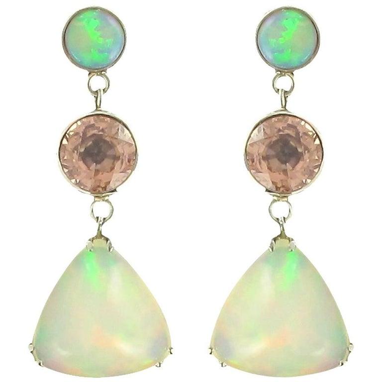 Baume 7.87 Carat Opal Burma Garnet White Gold Dangle Earrings