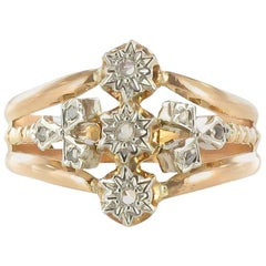 French Napoleon III 18 Carat Rose Gold Diamond Ring