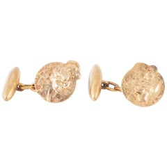 Art Nouveau Cufflinks by Jules Cheret in 18 Karat Gold, French circa 1890
