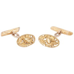 French Art Nouveau Floral Gold Cufflinks