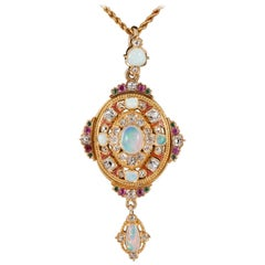 Opal and Diamond Holbeinesque Pendant on Original Chain