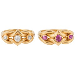 Pair of Rings Set with Rubies and Diamonds