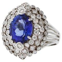 5.57 Carat Tanzanite Diamond White Gold Ring