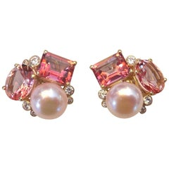Michael Kneebone Pink Topaz Pink Pearl Diamond Confetti Earrings