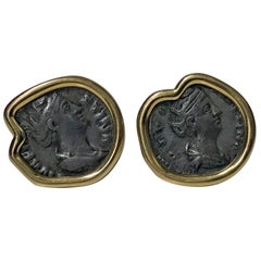 18 Karat Custom Mounted Ancient Coin Earrings, circa 1990