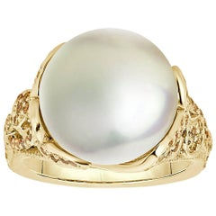 South Sea Pearl and Pave Yellow Diamonds Ring