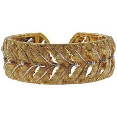 Mario Buccellati Leaf Motif Gold Cuff Bracelet
