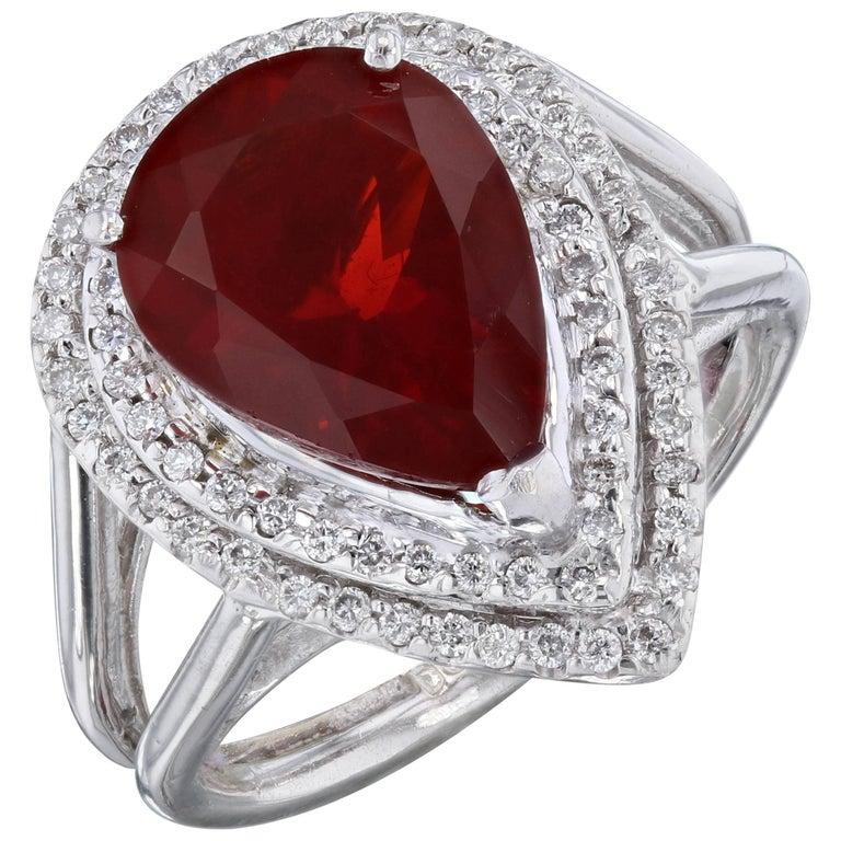 3.29 Carat Fire Opal Diamond Cocktail Ring
