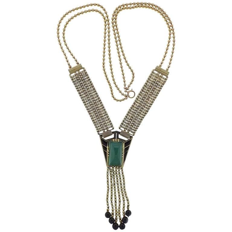 Iconic Art Deco Chrysoprase Onyx Gold Necklace