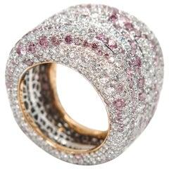 Modern Faberge Passion Rose Diamond Pave Band