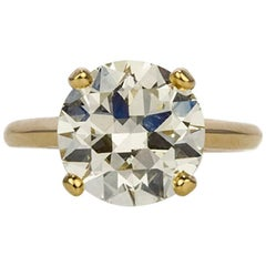 Boucheron GIA Certified Diamond and 18 Karat Gold Solitaire Ring 4.12 Carat