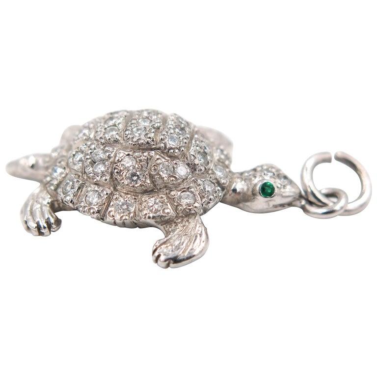Diamond Turtle Platinum Charm
