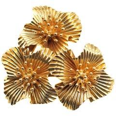 1950s Cartier Gold Flower Brooch