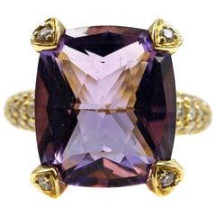 Judith Ripka Amethyst Diamond Yellow Gold Ring