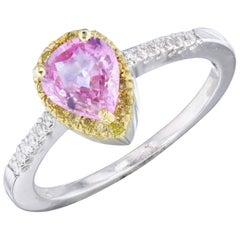 1.16 Carat Pink Sapphire and Natural Yellow Diamond Ring