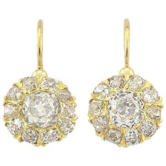 Victorian 18 Karat Yellow Gold Old Mine Cut Diamond Cluster Earrings