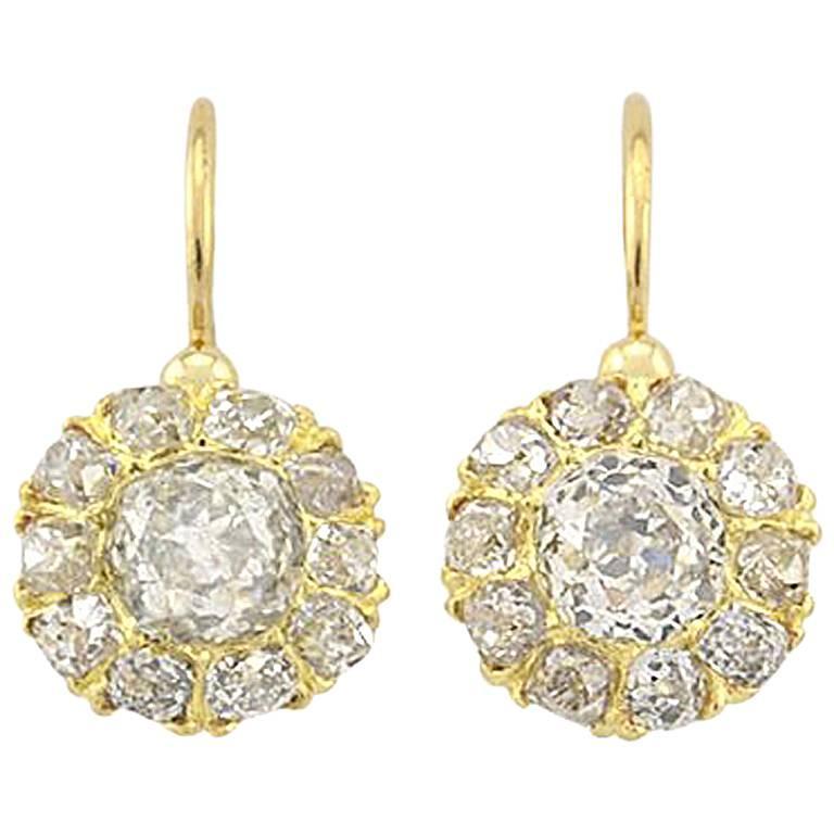 Victorian 18 Karat Yellow Gold Old Mine Cut Diamond Cluster Earrings