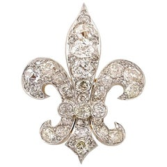 Antique Fleur-de-Lis 13 Carat of Old Mine Cut Diamonds Brooch and Pendant