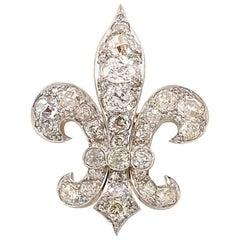 Antique Fleur-de-Lis 13 Carat of Old Mine Cut Diamonds Brooch and Pendant