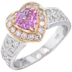 1.52 Carat Pink Sapphire Diamond Engagement Ring