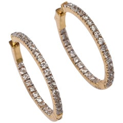 18 Karat Gold and Diamond Inside Out Hoops