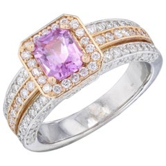 2.04 Carat Pink Sapphire Diamond Engagement Ring