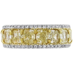 Fancy Yellow Cushion Cut Diamond Eternity Band