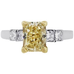 GIA Certified 1.84 Carat Fancy Light Yellow Radiant Cut Engagement Ring