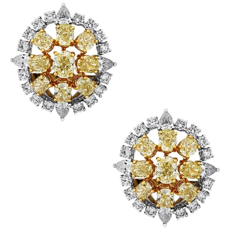 Fancy Yellow Diamond and White Diamond Cluster Earrings