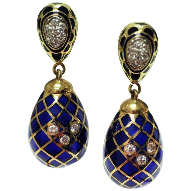 18 Karat Yellow Gold, Cobalt Blue Enamel and Diamond Pendant Drop Earrings For Sale