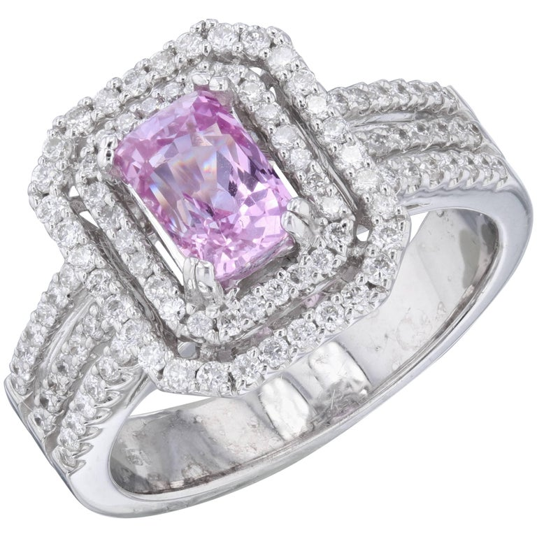 2 16 Carat Pink Sapphire Diamond Ring in 18 Karat White Gold For Sale at 1stdibs