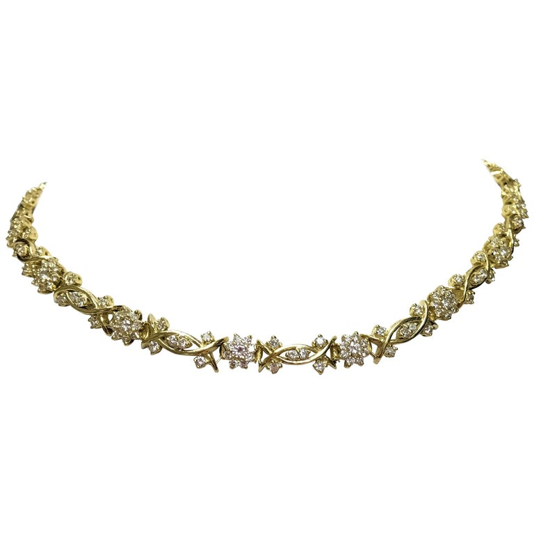Yellow Gold and Diamond Necklace, Fleurette Design For Sale