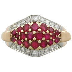 1950s Ruby and Diamond Yellow Gold Dress Ring