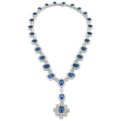 Sapphire and Diamond white Gold Necklace