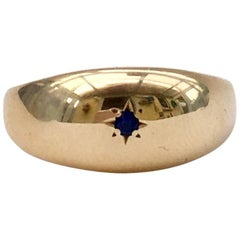 1960s Sapphire Ring Gypsy Set Star Gold Band Midcentury Vintage Signet