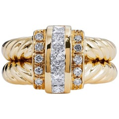 0.88 Carat Diamond and 18 Karat Yellow Gold Cable Cocktail Ring