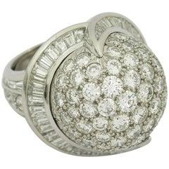 Valentin Magro Platinum Round Diamond and Baguette Diamond Globe Ring