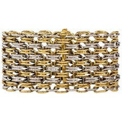 1960s Georges L'Enfant Paris Wide Gold Braided Bracelet