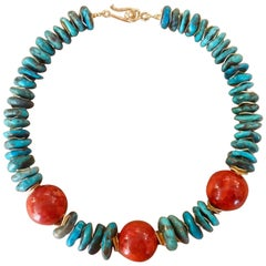 Michael Kneebone Fossil Coral Nugget Turquoise Bead Necklace