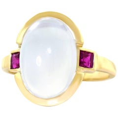 1950s Tiffany & Co. Moonstone and Ruby Gold Ring