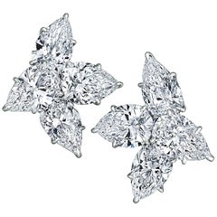 Pear Cut Cluster Diamond Platinum Handmade Clip Earrings