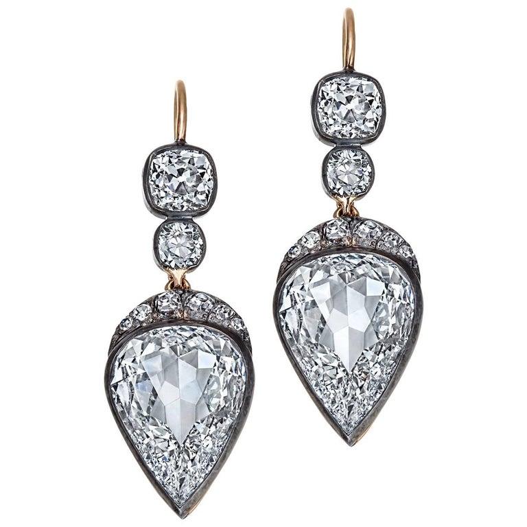 Old Mine Pear Cut GIA Certified Diamond Gold Silver Drop Earrings 1