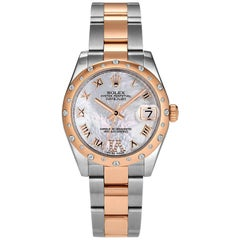 Rolex Rose Gold Stainless Steel Oyster Perpetual Datejust 31 Wristwatch