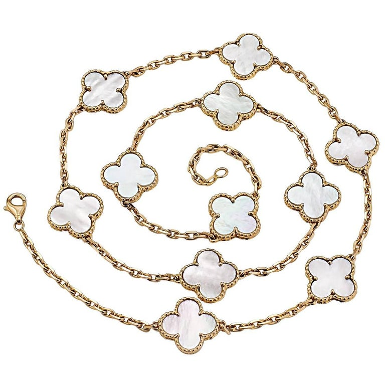Van Cleef & Arpels Alhambra Gold and Mother-of-Pearl Necklace For Sale