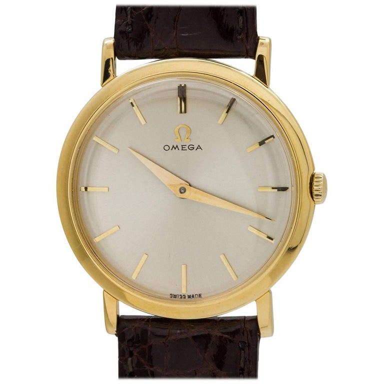 Omega Yellow Gold Manual Wind Dress Wristwatch, circa 1958