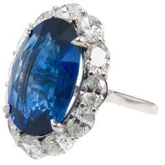 11.62 Carat Oval Sapphire Diamond Cocktail Ring